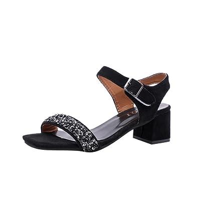 b7a771fbae Block Heel Sandals Jamicy Ladies Sandals Summer Crystal Wedge Hook Loop High  Heel Shoes (35