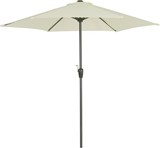 Azuma 2.5m Parasol Crank Canopy Grey Aluminium Pole Garden Patio Shade