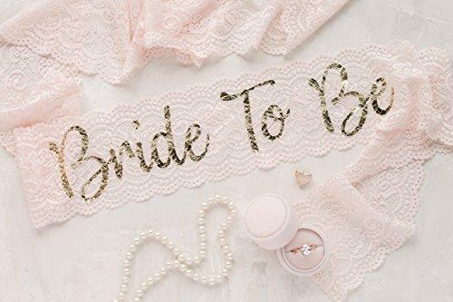 Blush Lace Bachelorette Sash - Gold Bride To Be by Lauren Lash Designs