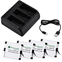 Powerextra 4 Pack Replacement Battery with 3-Channel Charger for GoPro HERO 5 Black (Compatible with Firmware v02.51 v02.00, v01.57, v01.55)