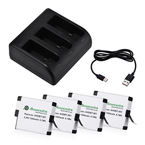 Powerextra 4x Replacement Battery with 3-Channel Charger Compatible with GoPro HERO(2018) GoPro HERO 6 GoPro HERO 5 Black (Compatible with Firmware v02.51 v02.00, v01.57, v01.55) by Powerextra