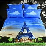 Newrarahome Paris Bedding Set Paris Comforter Set Eiffel Tower Bedding and Flat Sheet Set Queen 4pcs