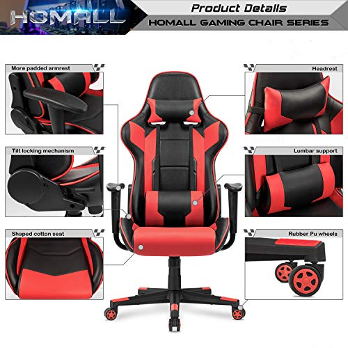 Homall Gaming Chair Racing Style High-Back Faux Leather Office Chair Computer Desk Chair Executive and Ergonomic Style Swivel Chair with Headrest and Lumbar Support(Red) by Homall (Image #2)