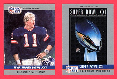 1990 Pro Set Football (Super Bowl #21) **** (2) Card Lot featuring Super Bowl MVP Phil Smms and Super Bowl Program Cover (Giants) - Super Mvp Bowl 21