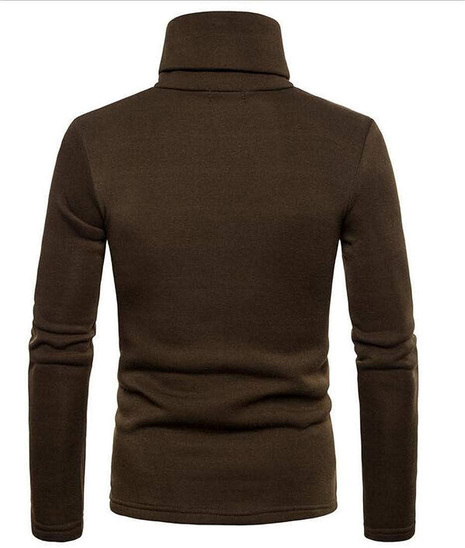 Hajotrawa Men Fashion Button Pullover Solid Color High Collar Blouse Top