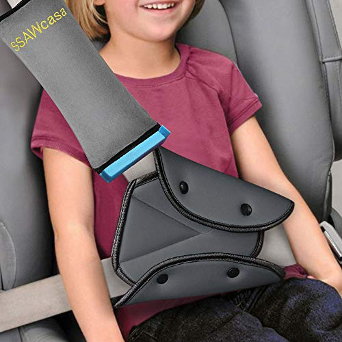 Seat Belt Adjuster and Pillow with Clip for Kids Travel,Soft Neck Support Headrest Seatbelt Pillow Cover & Seatbelt Adjuster for Child,Car Seat Strap Protector Cushion Pads for Baby Short People Adult
