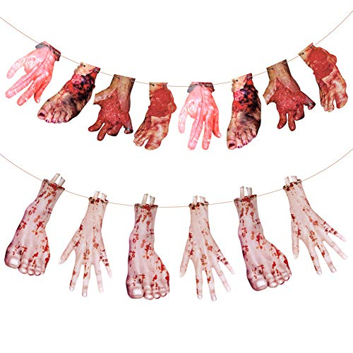 Halloween Blood Hands and Feet Garland 2 Pack
