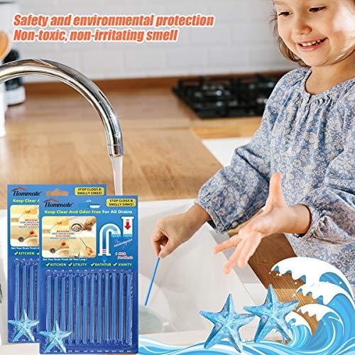 Drain Sticks Drain Cleaner Sticks Drain Deodorizer Sticks for Preventing Clogs Eliminating Smelly Odor Kitchen Bathroom Sink Septic Tank Safe As Seen On TV