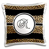 3dRose Elegant Cheetah Animal Print Monogram Letter R Pillow Case, 16 x 16''
