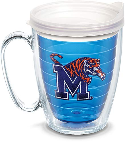 Tervis 1084383 Memphis Tigers Logo Tumbler with Emblem and Frosted Lid 16oz Mug, Blue ()