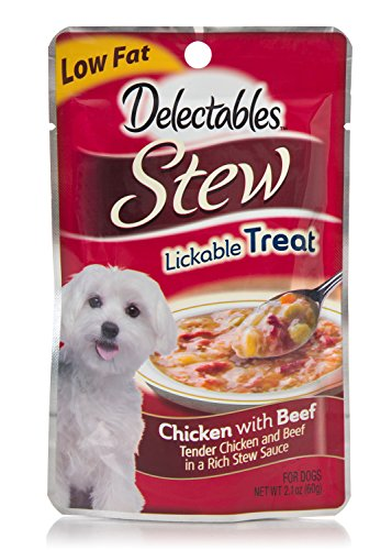 Delectables Lickable Dog Treat, Stew, Chicken with Beef, 2.1 oz (Pack of 12)