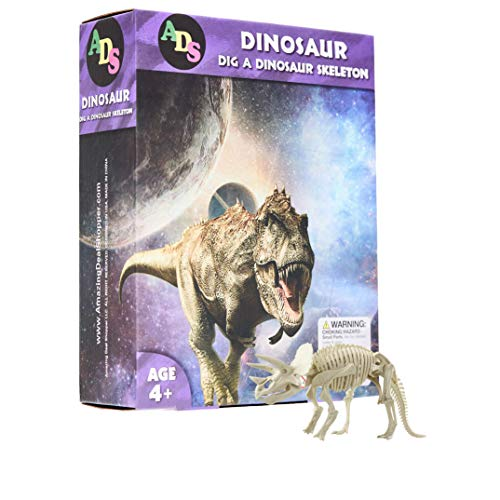 ADS Ultimate Dinosaur Science KitDig Up Dino Fossils and Assemble it! - Includes 6 Piece Excavation Kits (Triceratops)