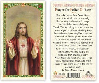 Officer Greeting Cards (Prayer For Police Officers. Laminated 2-Sided Holy Card (3 Cards per)