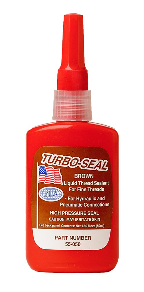 Turbo Seal Brown Fine Thread Hydraulic Sealant - Equivalent to Loctite 569 and Loctite 542- 50ml Plastic Bottle - Case of 10