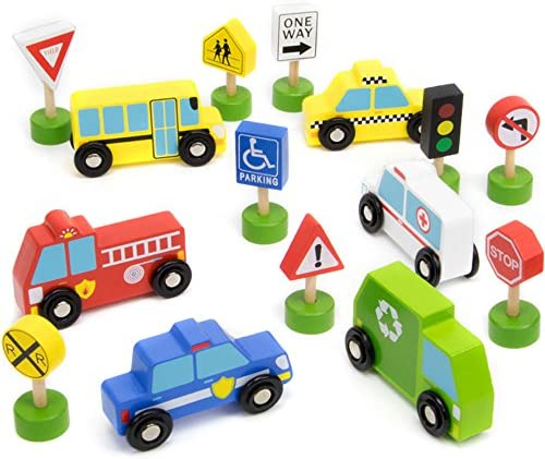 Imagination Generation 15-Piece Busy City Wooden Street Signs & Work Cars Playset with Slotted Wood Storage Box