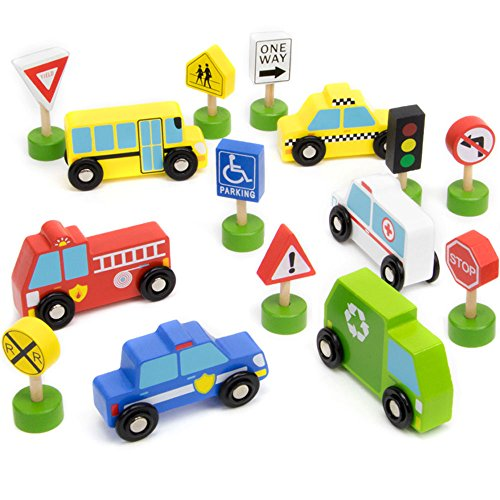 Imagination Generation 15-piece Busy City Wooden Street Signs & Work Cars Playset with Slotted Wood Storage Box - Playset City Car