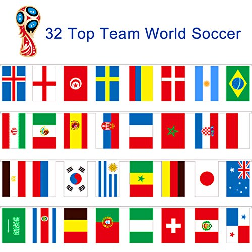 String Flag Banner Bunting for 2018 World Cup Soccer Game To