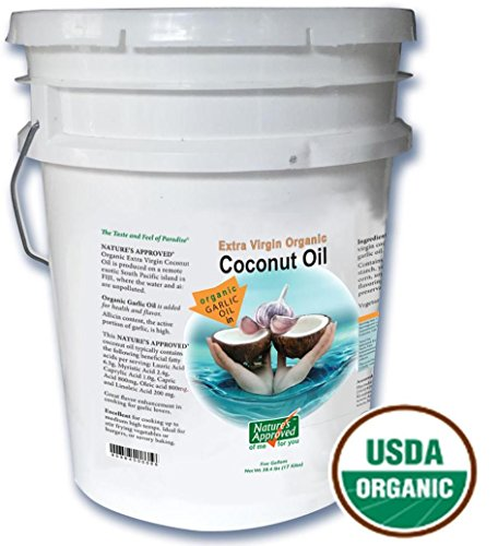 Organic Garlic Coconut Oil. Contains over 50% allicin. The Best Tasting Coconut Oil Certified Organic Extra Virgin Coconut Oil from the Beautiful Fiji Islands.(5 gal. Garlic) by Nature's Approved (Image #6)