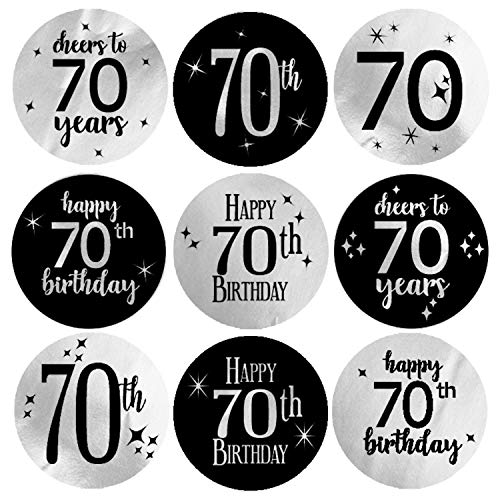 Black and Silver 70th Birthday Party Favor Labels | Shiny Foil | 198 Stickers ()