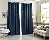 Cheap AiFish 1 Panel Unique Star-shaped Cutouts Room Darkening Thermal Insulated Outer Space Stary Galaxy Blackout Curtains Decorative Window Panel Drapes for Kids Boys Room Grommet Top W75 x L84 inch