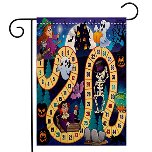 (BEIVIVI Creative Home Garden Flag Board Game Halloween Theme Symbols Happy Witch Girl Vampire Ghost Pumpkins Happy Comic Multicolor Welcome House Flag for Patio Lawn Outdoor Home)