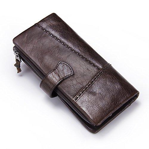 Contacts Herren echtes Leder Vintage Bifold Trifold Brieftasche Karte Münze Halter Clutch Geldbörse Dunkelbraun