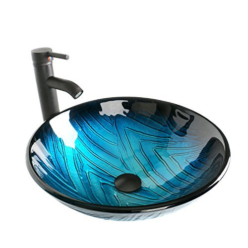 Round Bathroom Sink Artistic Tempered Glass Vessel Sink Combo with Oil Rubber Bronze Faucet and Pop up drain Bathroom Bowl,Blue textured