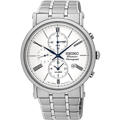 Seiko-Mens-Premier-412mm-Steel-Bracelet-Case-Sapphire-Crystal-Quartz-White-Dial-Analog-Watch-SNAF73