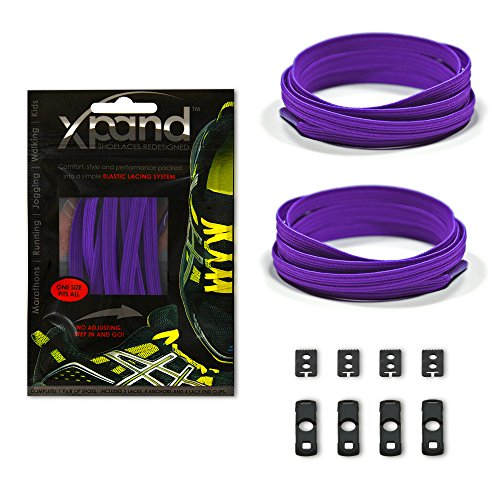 Xpand No Tie Shoelaces System with Elastic Laces - Purple - One Size Fits All Adult and Kids Shoes ()