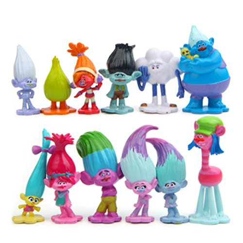 DreamWorks Troll Dolls | Set of 12 pcs Mini Figures | 3-6 cm Tall Cake Toppers Decoration Figures + Troll Stickers | By - Mini Sunglasses Doll For