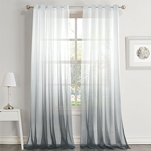 Dreaming Casa Gradient Ombre Sheer Curtains Draperies Window Treatment Voile for Living Room Kid's Room 63 Inches Long Grommet Top (52