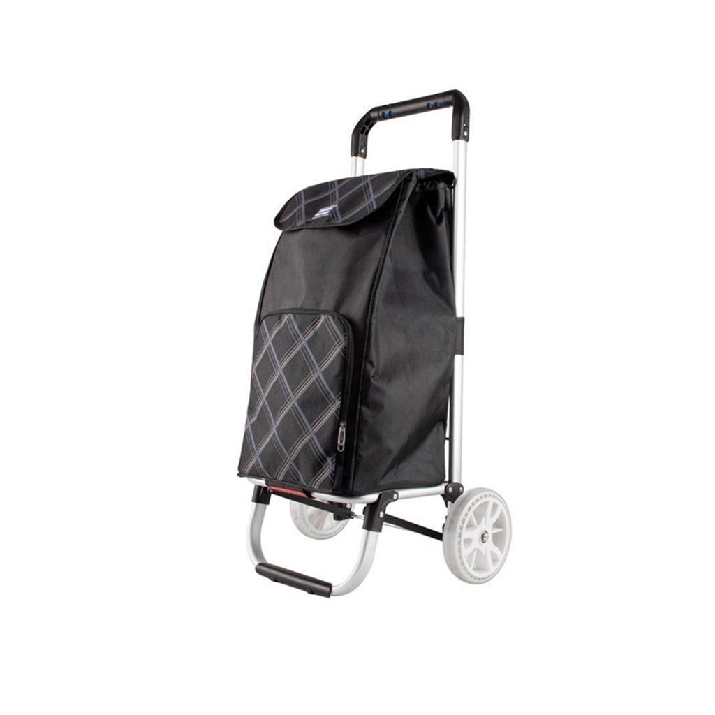 ショッピングカート手荷物カート小物カートハンドトラックトロリー折り畳みポータブルクライミング階段アルミ棒トレーラーハンドトラックブラック 丈夫で持ち運びやすい (色 : Black)  Black B07FB779MX