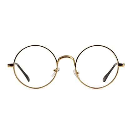 6ef3c0b0c0c Skitic Unisex Round Retro Glasses Metal Frame Clear Lens Vintage Plain  Spectacles Eyewear Geek Glasses Decor Eyeglasses for Men and Women - Gold   ...
