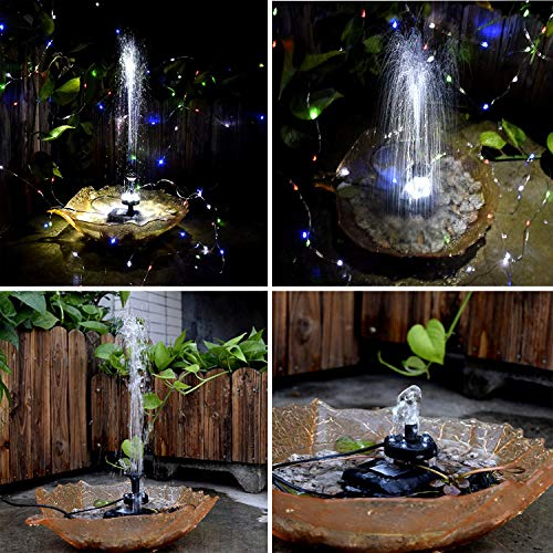 Lewisia Battery Backup Solar Fountain Pump with LED Lighting for Pool Koi Pond Garden Bird Bath Submersible Solar Water Pump Kit 5W