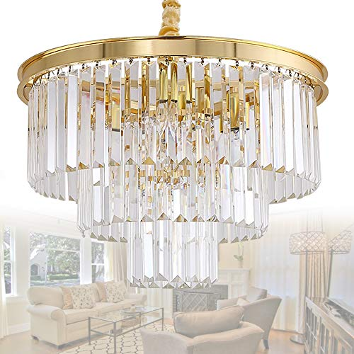 MEELIGHTING Crystal Gold Plated Modern Chandeliers Lights Vintage Pendant Ceiling Light Chandelier Lighting Fixture 3-Tier 8Lights for Dining Room Living Room Kitchen Island Bedroom W20