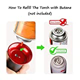 Blow Torch, Professional Kitchen Cooking Torch with Lock Adjustable Flame Refillable Mini Blow Torch Lighter for BBQ, Baking, Brulee Creme, Crafts and Soldering