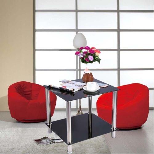 2 Niveles Mesa de Cafe de Vidrio Negro + Lado de Acero Inoxidable para Sala Mesa de Centro con Almacenamiento Inferior Tabla para Lampara