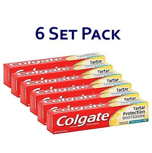 ction with Whitening Toothpaste, Crisp Mint 3.0oz (2.8) Pack of 6 (Tartar Protection)