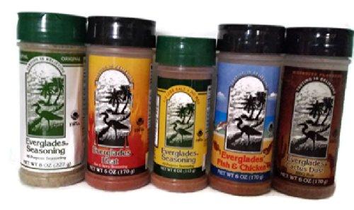 6-Piece Everglades Seasoning Sampler Includes 5 Seasonings Bundled in Wooden Crate Napkin Holder