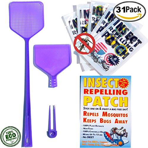 Mosquito Patches Insect Repellent Patch Clothing Stickers Super BUNDLE 3n1 FLY SWATTER Heavy Duty ECO Friendly NON TOXIC DEET FREE 12 Hours Best Bite Protection 100% Natural Safe For Kids - Hours Today Disney