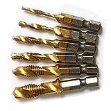 6Pcs 1/4'' Hex Shank Titanium HSS 6542 Combination Drill and Tap Bit Set Drill Bit & Screw Thread Tap Deburr Countersink Bit M3/4/5/6/8/10, Set of 6