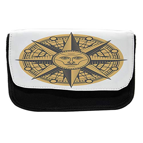 Ambesonne Nautical Tattoo Pencil Case, Sun Compass Art, Fabric Pen Pencil Bag with Double Zipper, 8.5