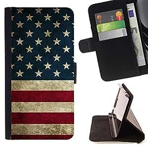 Momo Phone Case / Flip Funda de Cuero Case Cover - Bandera de los Estados Unidos Rojo Azul Blanco - Samsung Galaxy E5 E500