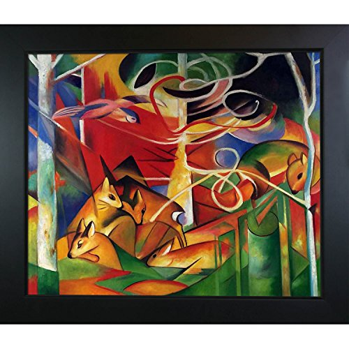 overstockArt Deer in The Forest Framed Oil Reproduction of an Original Painting by Franz Marc, New Age Wood Frame, Black Finish Franz Marc Deer
