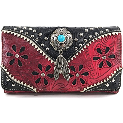Justin West Turquoise Stone Concho Feathers Western Tooled Studs Concealed Carry Handbag Purse (Red Wallet - Red Justin