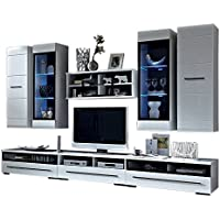 Barcelona II Wall Unit Modern Entertainment Center with LED Lights TV Stand, High Gloss White