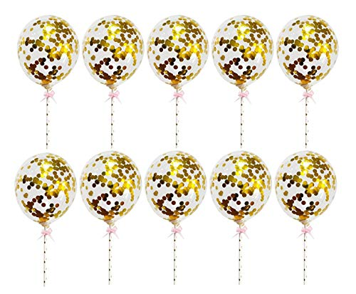 Yalulu 10Pcs 5 Inches Mini Transparent Confetti Balloon Sequins Latex Ballons Cake Topper Wedding Birthday Party Balloons (Gold)