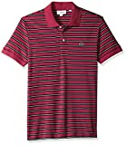 Lacoste Men's Short Sleeve Pima Reg Fit Fine Stripe Polo, Persian Red/Black/Meridian, X-Large