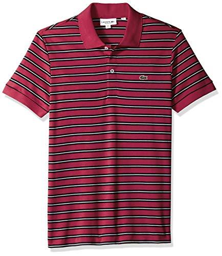 Lacoste Men's Short Sleeve PIMA REG FIT FINE Stripe Polo, Persian red/Black/Meridian, Large