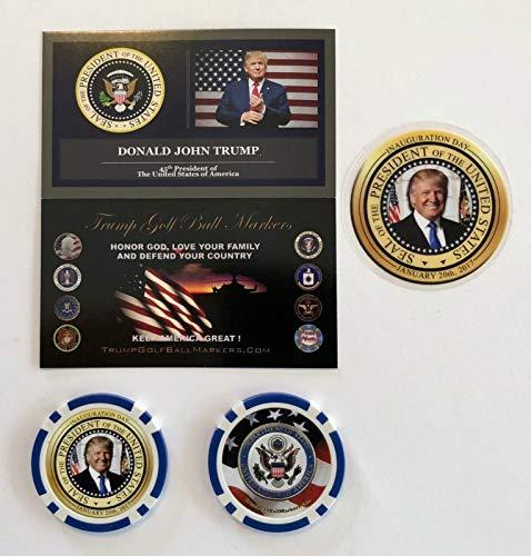 Virginia City Mint Trump Golf Ball Marker .Trump Inauguration Day .Casino Chip.Blue